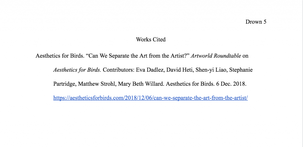 A sample MLA works cited page for an artists roundtable on a website.